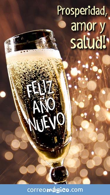 Prosperidad, amor y Salud. Feliz Año Nuevo. Tarjeta de Año nuevo para whatsapp para enviar desde tu celular o computadora