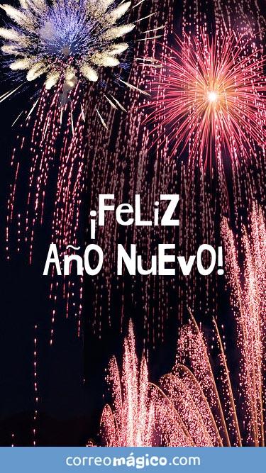 Feliz Año Nuevo. Tarjeta de Año nuevo para whatsapp para enviar desde tu celular o computadora
