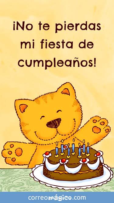 Tarjeta de Invitacion a fiesta de Cumpleaños con gatito para whatsapp para enviar desde tu celular o computadora