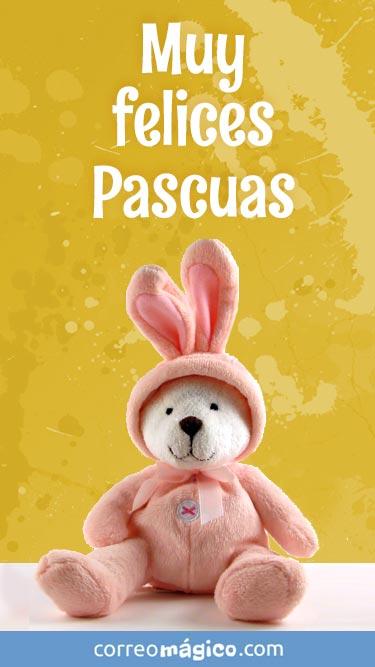 Tarjeta de Pascuas para enviar por whatsapp o descargar a tu celular. Texto: Muy felices Pascuas