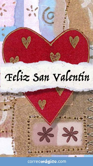 Feliz día de San Valentín. Tarjeta de San Valentín para whatsapp para enviar desde tu celular o computadora