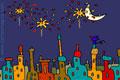 Tarjeta para invitaciones a Fiestas. Festejos en la ciudad