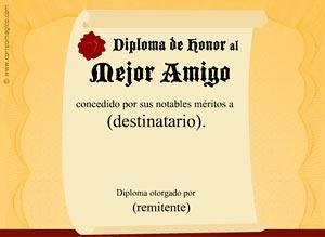 Imagen de Amistad para compartir gratis. Diploma al mejor Amigo