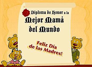 Imagen de Día de las Madres para compartir gratis. Diploma a la mejor Mamá del mundo