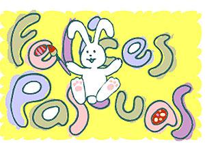 Imagen de Pascuas para compartir gratis. Conejo saltarín