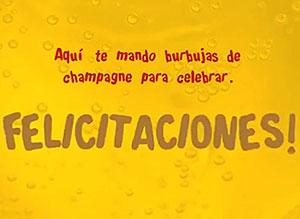 Imagen de Felicitaciones para compartir gratis. Te mando burbujas de champagne!