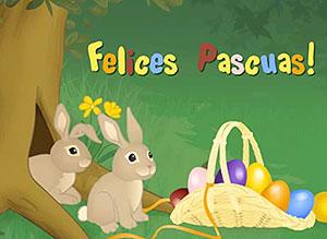 Imagen de Pascuas para compartir gratis. Conejitos