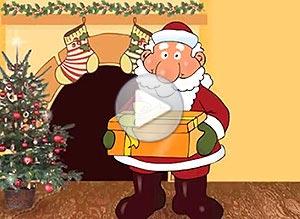 Imagen de Navidad para compartir gratis. Papá Noel entrega tu regalo en mano