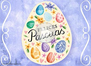 Imagen de Pascuas para compartir gratis. Paz, esperanza y alegría