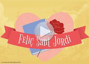 Imagen de Sant Jordi para compartir gratis. Rosas, libros y amor