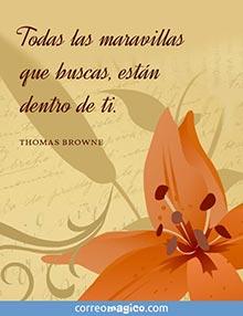 Todas las maravillas que buscas están dentro de ti.     (Thomas Browne)
