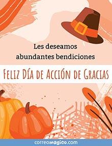 Les deseamos abundantes bendiciones.  Feliz Día de Acción de Gracias