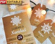 Set de invitaciones de navidad para imprimir.