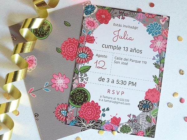 Set De Invitaciones De Cumpleaños O Fiestas Con Flores Para