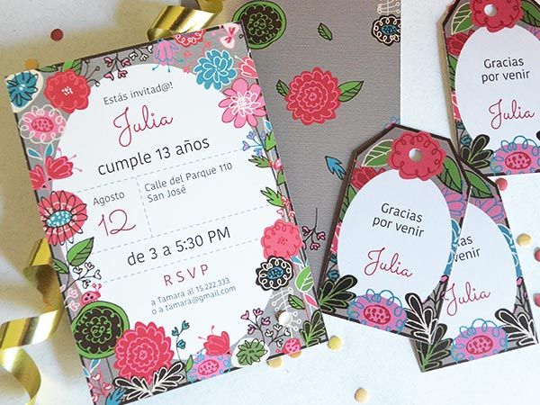 Felicitaciones De Cumpleaños Con Flores: Set De Invitaciones De Cumpleaños O Fiestas Con Flores