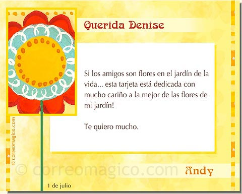 Tarjeta Para Imprimir De Amistad Flor Correomagico