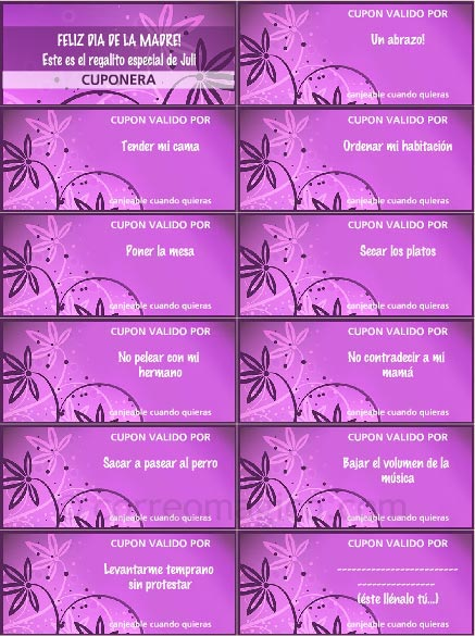 cupon diamadreflores - Tarjetas para imprimir GRATIS en tu casa en www