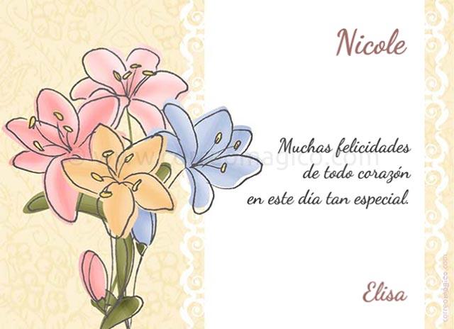Tarjeta Para Imprimir De Día De La Madre Flores Para Ti