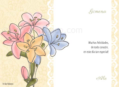 Tarjeta Para Imprimir De Felicitaciones Flores Para Ti