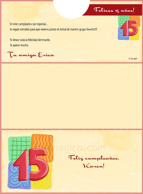 Sobrecumple15 15 tarjetas para imprimir gratis en tu casa en - Sobre de navidad para imprimir ...