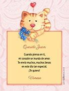 Tarjetas de amor para imprimir. Gatito