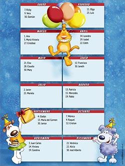 Calendario de cumpleaños para imprimir. Calendario perpetuo de cumpleaños