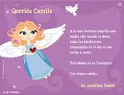 Tarjetas para imprimir de Comunion. Angelita