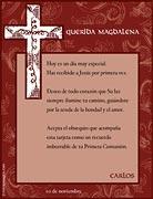 Tarjetas para imprimir de Comunion. Sant�sima cruz