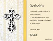 Tarjetas para imprimir de Comunion. Cruz de plata