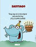 Tarjeta de Cumpleaños para imprimir. Elefante