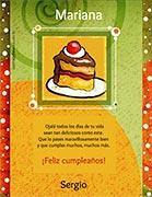 Tarjeta de Cumpleaños para imprimir. Porción de torta