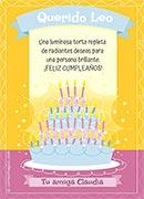 Tarjeta de Cumpleaños para imprimir. Torta luminosa