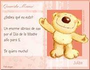 Tarjetas de Dia de las Madres para imprimir. Abrazo de oso