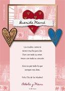 Tarjeta de Día de las Madres personalizable. Corazones,