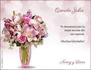 Tarjeta de Cumpleaños para imprimir. Flores para ti