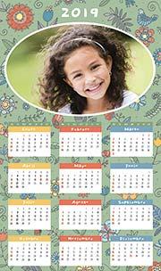 Calendarios de navidad para imprimir. Almanaque de pared 2019. Primavera