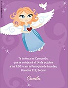Tarjeta de bautismo para personalizar. Angelita,  4 invitaciones, con souvenirs haciendo juego. Sirven para bautismo tambien<br> (aprox. 9 x 12 cm)