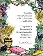 Tarjeta de Comunión para personalizar. Santa Comunión,  4 invitaciones, con souvenirs haciendo juego<br> (aprox. 9 x 12 cm)