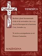Invitaciones para imprimir de Comunion. Santísima Cruz