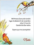 Tarjeta de Comunión para personalizar. Aves del Cielo,  4 invitaciones dedicadas<br> (aprox. 9 x 12 cm)