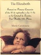 Tarjeta de Comunión para personalizar. Angeles de Raffaello,  4 invitaciones, con souvenirs haciendo juego<br> (aprox. 9 x 12 cm)