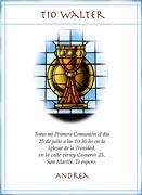 Tarjeta de Comunión para personalizar. Vitral,  4 invitaciones, con souvenirs haciendo juego<br> (aprox. 9 x 12 cm)