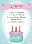 Invitaciones de cumpleaños para imprimir. Pastel