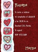 Invitaciones personalizable. Corazones, 4 invitaciones dedicadas