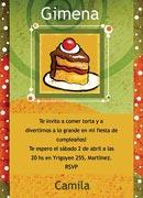 Invitaciones personalizable. Porción de torta, 4 invitaciones dedicadas