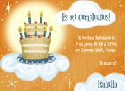 Invitaciones de cumpleaños para imprimir. Torta