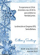 Invitaciones de Navidad para imprimir. Cristales de nieve