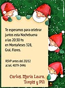 Invitaciones de Navidad para imprimir. Pequeños Santa