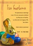 Invitaciones de Pascuas para imprimir. Conejo de chocolate