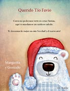 Tarjetas de navidad para imprimir. Oso polar